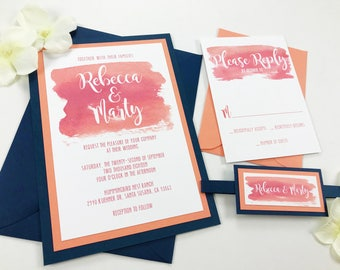 Modern Wedding Invitation with Brush Stroke Water color, Navy Blue and Coral Pink, Invitations for the Modern Bride with Envelopes and Band