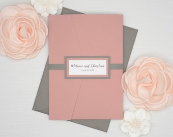 DUSTY ROSE and GREY Wedding Invitations Set, Fun Modern Calligraphy in Mauve and Charcoal Gray, Beautiful Romantic invites with rsvp & band