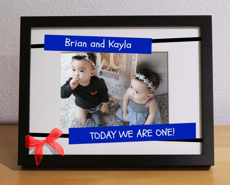 Twins First Birthday Gift Baby Customized Frame