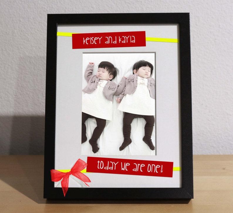 Twins Birthday Gift FIRST BIRTHDAY Customized Frame