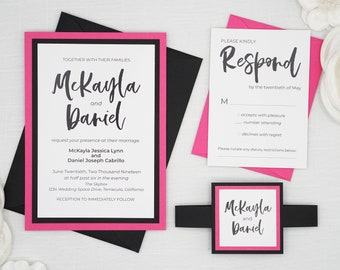 Magenta Wedding Invitations, Hot Pink Fuchsia and Black Modern Edge Wedding Invitations, Full Set with response card and belly band holder