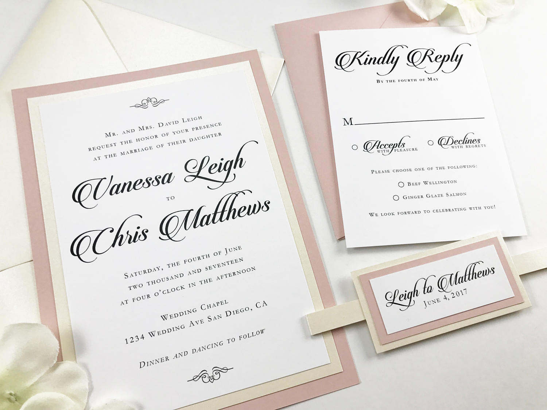 Blush And Ivory Wedding Invitations: Beautiful Blush And Ivory Wedding Invitation Set Mauve