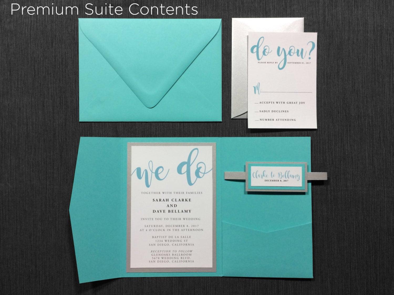 Wedding Invitations Turquoise: Turquoise Wedding Invitations Teal Blue Aqua Modern