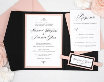 Formal Wedding Invitations in Black and Blush Pink, traditional script font with elegant pale pink accents, High End Wedding Invitations