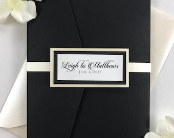 Black and Cream Ivory Pocket Wedding Invitations Bundle with Envelopes and Belly Band, Elegant Calligraphy Script Font, Classic Wedding