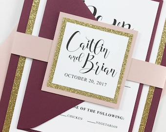 Modern Calligraphy Burgundy and Glitter Gold Wedding Invitation Bundle, Full Burgundy, Blush Pink, and Gold Wedding invites set, Belly Band