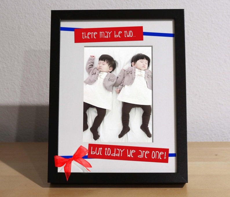 Twins Baby Gift TWINS FIRST BIRTHDAY Customized Frame