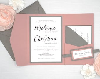 Wedding Invitations in Mauve Pink and Gray, Dark Grey and Dusty Rose Pink Wedding Invites Set with rsvp card and belly band, Modern Callig