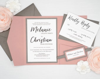 Mauve Wedding Invitations with Charcoal Grey Gray Accents, Full Beautiful Wedding Invites Set complete with RSVP & belly band Pocket Invite