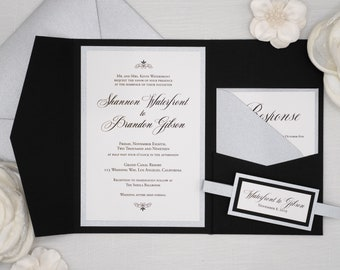 Formal TRADITIONAL ELEGANT WEDDING Invitations in Black and Silver Metallic, Classic Script Font Wedding Invites with belly band holder