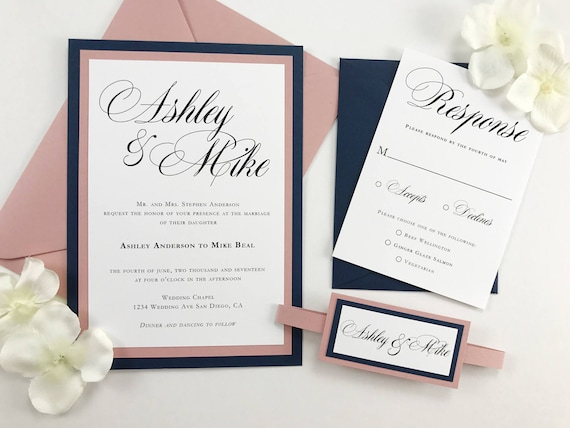 Dark Blue Wedding Invitations: Navy And Pink Wedding Invitations Dusty Pink And Dark Blue