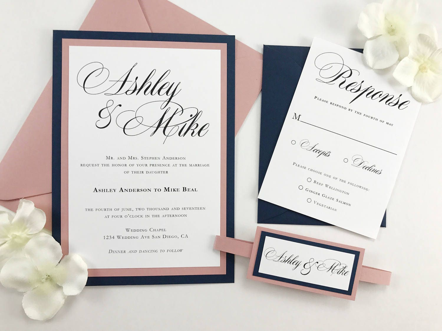 Navy And Pink Wedding Invitations Dusty Pink And Dark Blue