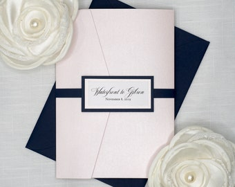 Traditional BLUSH PINK and NAVY blue Wedding invitation sets, Classic and elegant font, light shimmer pink pocket folder with belly band