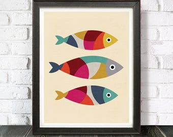 3 Colourful Retro Fish | Fish Print | Printable Art | Fish Poster | Fish Print Artwork