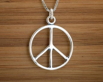 World peace necklace etsy sterling silver peace sign pendant necklace or earrings chain optional aloadofball Image collections