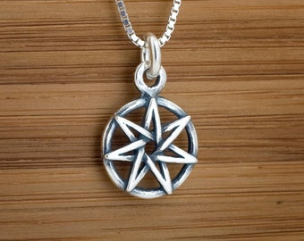 Heptagram necklace etsy sterling silver small fairy star heptagram my original charm necklace or earrings chain optional aloadofball Gallery