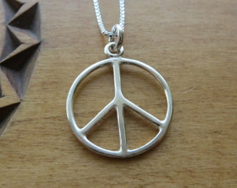 1c49adbab Solid STERLING SILVER Peace Sign Pendant Necklace or Earrings - Chain  Optional