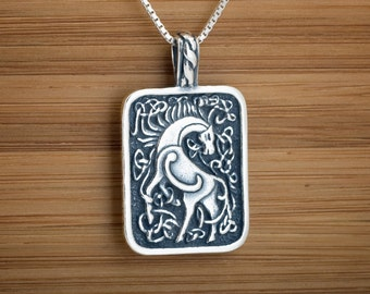 Celtic horse pendant etsy sterling silver celtic goddess epona horse my original pendant necklace chain optional aloadofball Images