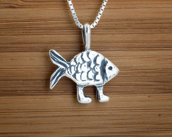 Darwin necklace etsy sterling silver darwin fish with feet my original pendant necklace chain optional aloadofball Image collections