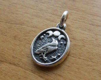 STERLING SILVER Small Raven and Triple Moon Charm Necklace or Earrings My ORIGINAL - Chain Optional