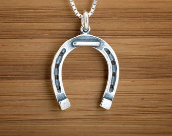 STERLING SILVER Lucky Horse Shoe Pendant Charm Necklace Earrings - Chain Optional