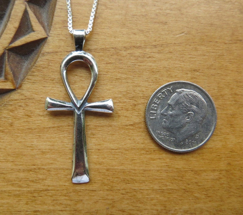 Chain Optional STERLING SILVER Simple Ankh Pendant Necklace