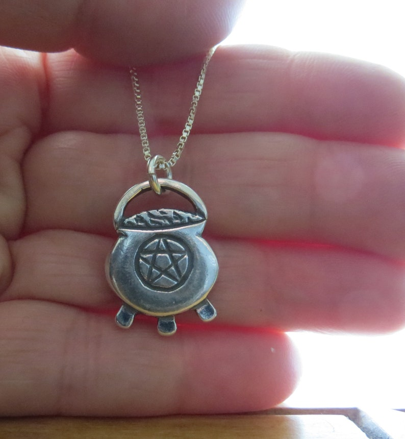 STERLING SILVER Cauldron with Pentagram Necklace Pendant Chain Optional