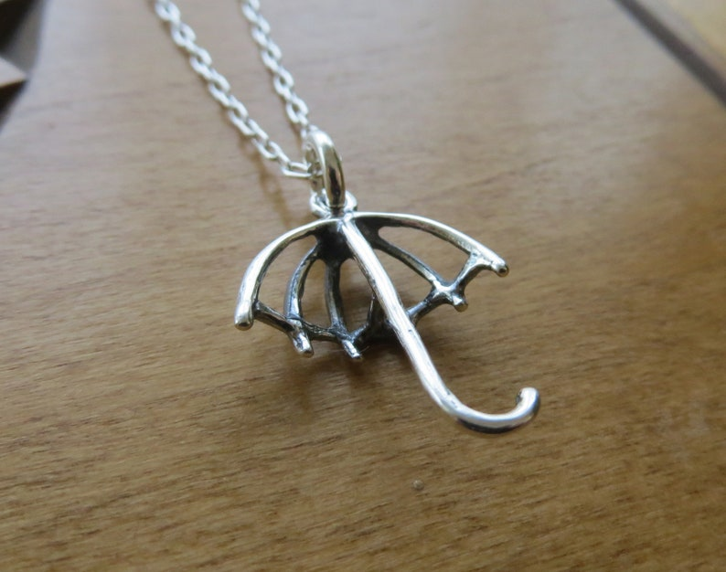 Chain Optional STERLING SILVER 3D Umbrella Pendant Necklace Charm or Earrings