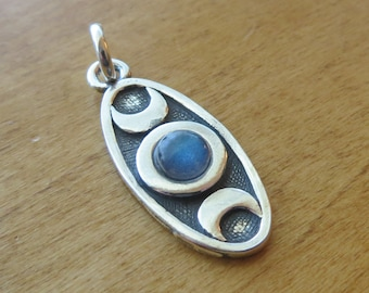 STERLING SILVER Triple Moon Phases  Necklace or Earrings -Chain Optional