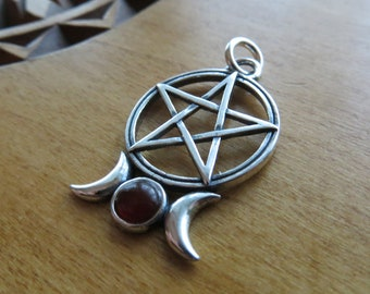 STERLING SILVER Triple Goddess and Pentagram My ORIGINAL Pendant Necklace - Chain Optional