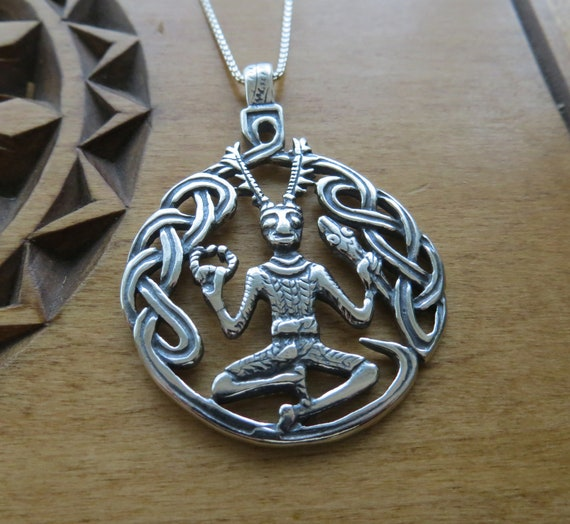Hand Crafted Solid Sterling Silver Cernunnos Necklace Pendant