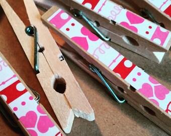 Pink Valentines Clothespins