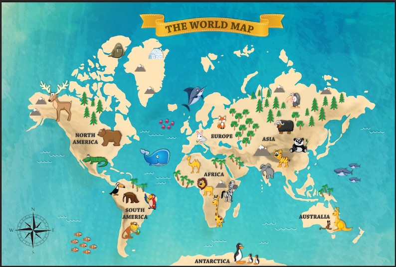 Map Of Australia Funny.Kids World Map With Funny Animals Wallpaper Funy World Map Full Covering Wall Mural