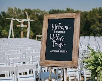 WEDDING ART: Rustic Chalkboard Welcome Board Sign ... Welcome to the Wedding of ... Chalkboard Hand Lettered Rustic Industrial Wood