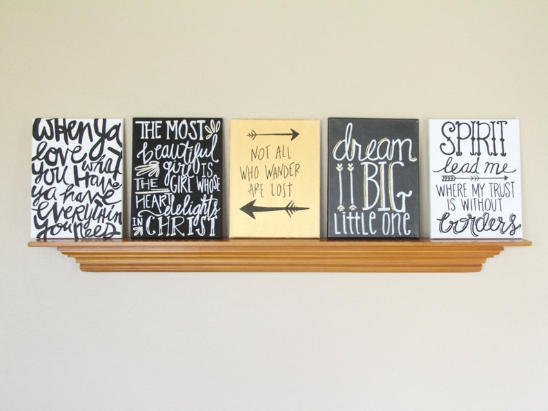 Canvas Painting Quotes Set  Black Gold & White Handmade image 0