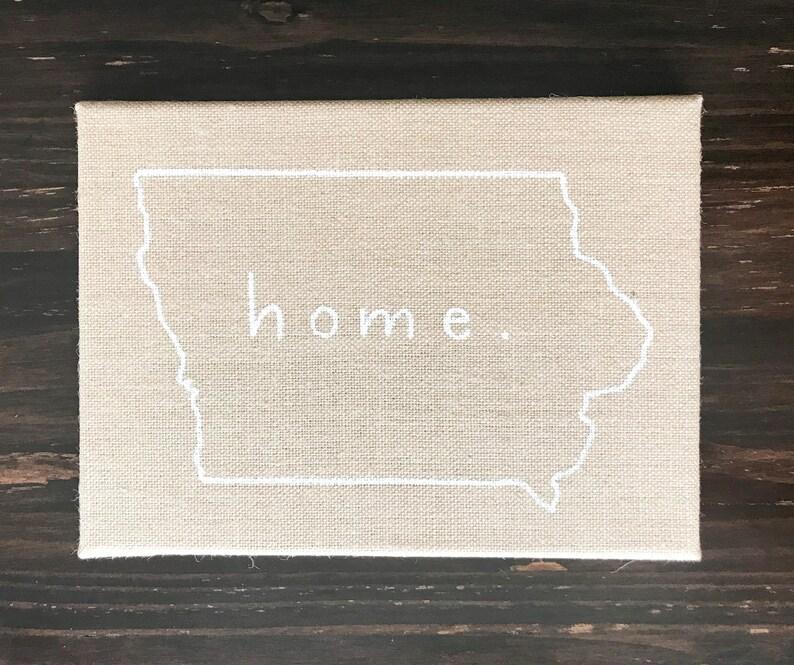 Iowa Outline Home Sign Proud Iowan Iowa Burlap image 0