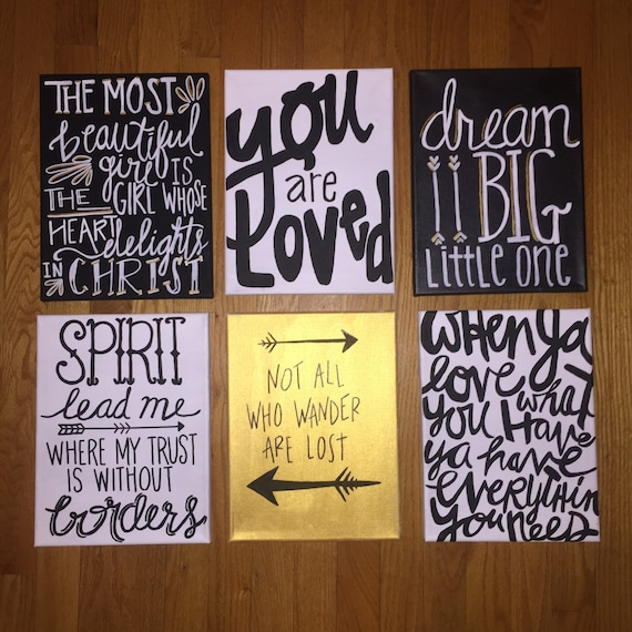 Canvas Painting Quotes Set - Black, Gold & White Handmade Inspirational  Wall Art Dorm Room Home Decor Love, Faith, Dream, Beautiful Girl