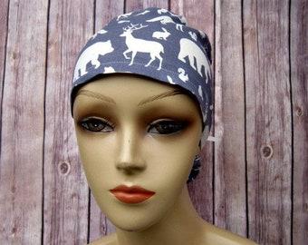 Womens Surgical Scrub Caps - Ponytail Scrub Hat - Scrub Caps - Wilderness Animals