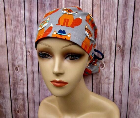 afd601224ad2a Ponytail Scrub Hat Scrub Caps Surgical Hat Metro Fox