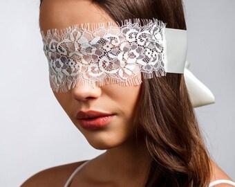 Flitterwochen Eyemask Elfenbein Audrey-Spitze, Seide und Satin Valentines Augenbinde Geschenk, Jahrestag Dessous, Flitterwochen Dessous