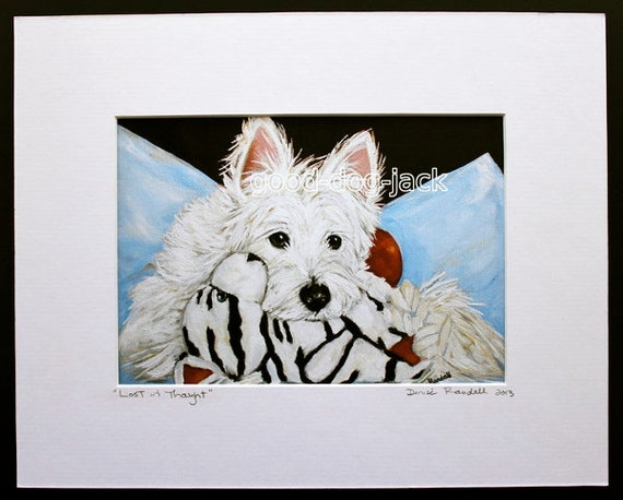 WESTIE TERRIER SLEEPING ON A CHAIR VINTAGE STYLE DOG ART PRINT READY MATTED