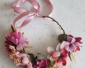 Pink Flower Crown Headpiece