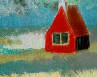 Houses Painting Wall Art Abstract Painting Wall Decor Painting Acrylic Painting Original Art Oil Painting Scandinavian Nature Gift Idea