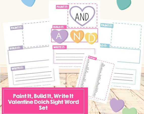 Valentine Paint It, Build It, Write It Dolch Sight Word Set