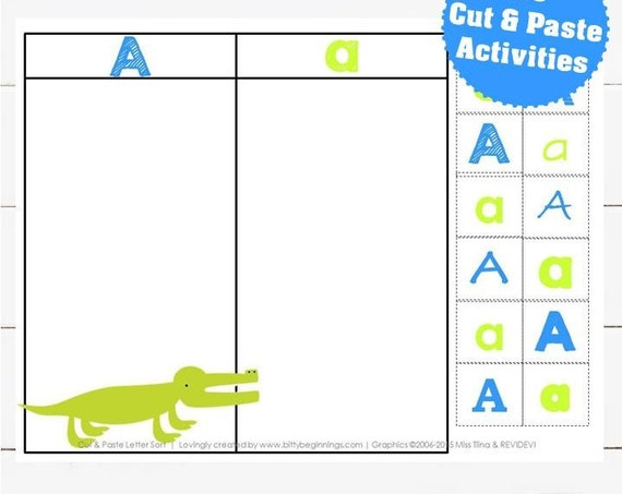 A-Z Cut + Paste Letter Sort Set - Blue
