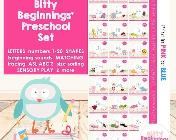 Bitty Beginnings' Preschool Set | Preschool Curriculum | Pre-K | Tot School | Early Learning | Letters | Numbers | Shapes | Tracing