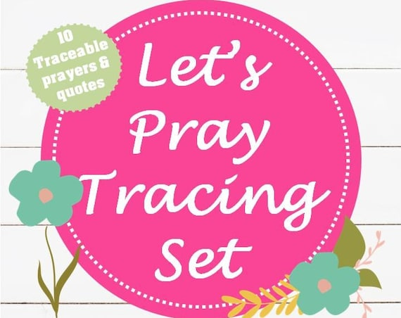 Let's Pray Tracing Set | Christian Prayers | Catholic Prayers | Traceable Prayers | Instant Download