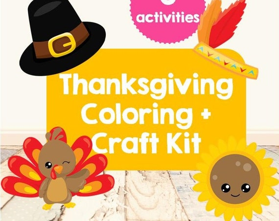 Thanksgiving Coloring + Craft Kit