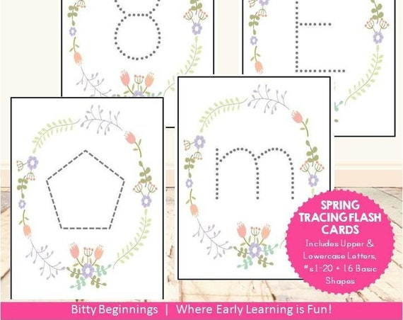 Tracing Flash Cards | Alphabet | Tracing | Pre-writing | Preschool | Spring | Learning | Numbers | Shapes | Printable