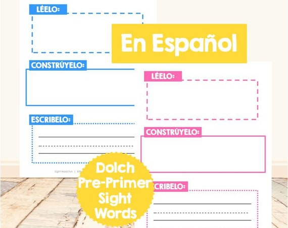 Read It, Build It, Write It Dolch Pre-Primer Sight Word Set - en espanol